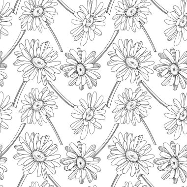 Vector Gerbera floral botanical flower. Wild spring leaf wildflower isolated. Black and white engraved ink art. Seamless background pattern. Fabric wallpaper print texture. clip art vector