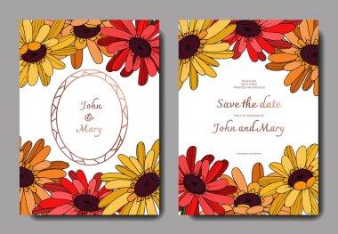 Vector Gerbera floral botanical flower. Black and white engraved ink art. Wedding background card floral decorative border. Thank you, rsvp, invitation elegant card illustration graphic set banner. clip art vector