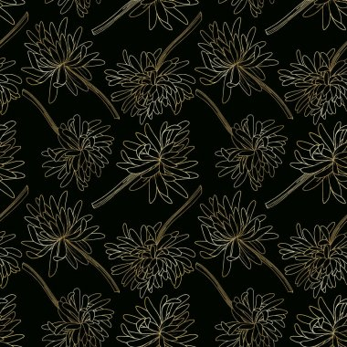 Vector Chrysanthemum floral botanical flower. Wild spring leaf wildflower isolated. Black and white engraved ink art. Seamless background pattern. Fabric wallpaper print texture. clip art vector