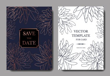 Vector Chrysanthemum botanical flower. Black and white engraved ink art. Wedding background card floral decorative border. Thank you, rsvp, invitation elegant card illustration graphic set banner. clip art vector