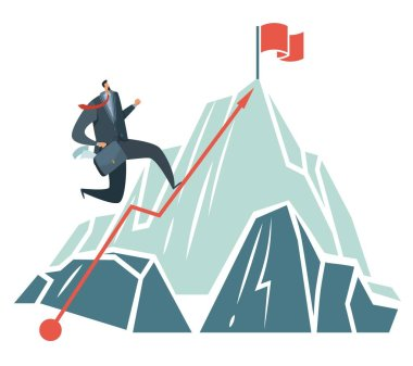 Business achievement. Success ambition businessman climbing path to top of mountain like to target vector concept