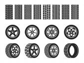 Radreifen. Autoreifen Laufflächenspuren, Motorradrennräder und schmutzige Reifen Spur. Motocross-Radweg, Fahrzeugstrecke oder Autorennreifen. Vektor isolierte Menge