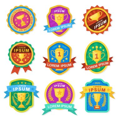 Trophy cup. Goblet emblems, achievement awards, various sport trophy golden cups symbols victory, competition winner prize logo vector labels