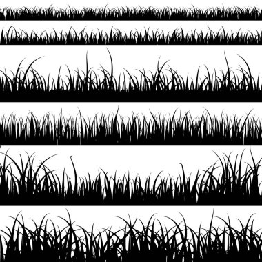 Grass silhouettes. Panorama black plants like fresh cane or weeds on plain and meadow landscape vector set