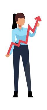 Successful businesswoman and arrow. Business woman holds growing chart. Vector achieving character