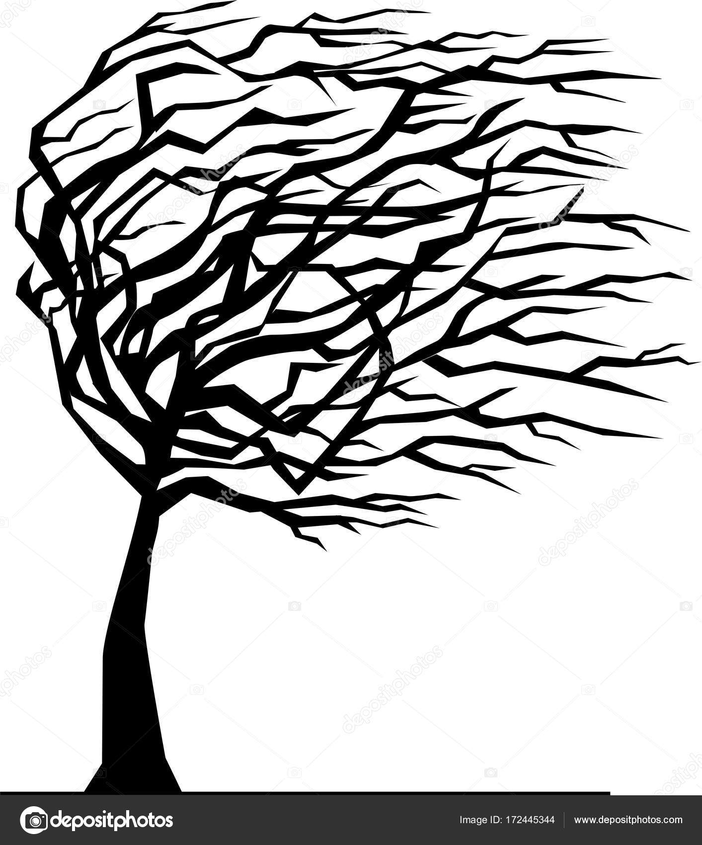 Silhouette Of Tree Bent By The Wind Stock Vector C Vabadov 172445344