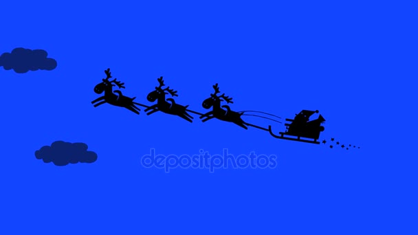 Santa Claus a jeho soby, letící na obloze. Silueta kreslené animace