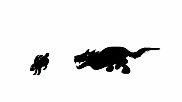 Wolf jagt Kaninchen (nahtlose Schleifenanimation))