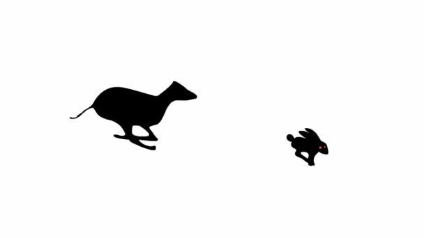 Windhund-Hund jagt Kaninchen (nahtlose Schleifenanimation))