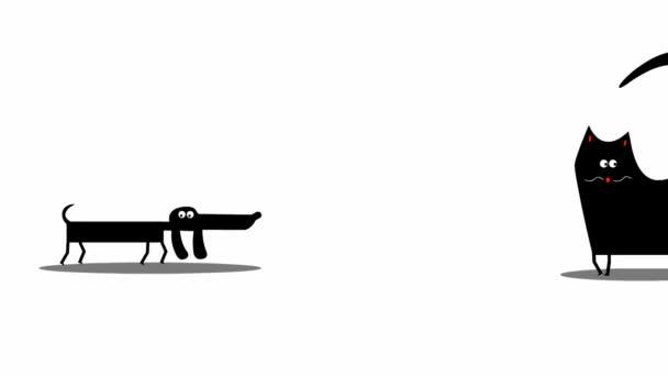 Vicces macska és kutya séta (rajzfilm animáció)