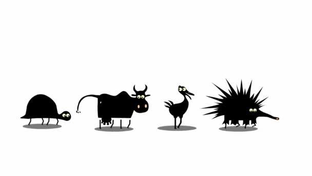 Állítsa be a vicces séta rajzfilm állatok (zökkenőmentes ciklus animáció)