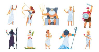 Ancient Greek gods. Cartoon cute legendary characters of ancient mythology, Vector male and female heroes isolated on white