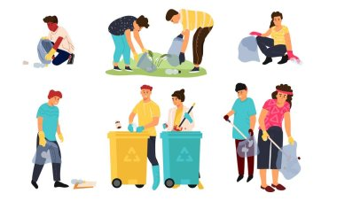 Recycling characters. Cartoon men women and children collecting garbage in containers for sorting and recycling. Vector scene set
