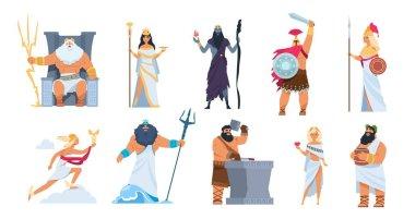 Greek gods. Cartoon ancient mythology characters, vector Zeus Ares a Poseidon gods and goddess isolated on white background