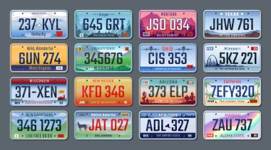 Car plates. Vehicle license numbers of different American states and countries, truck registration numbers. Vector set