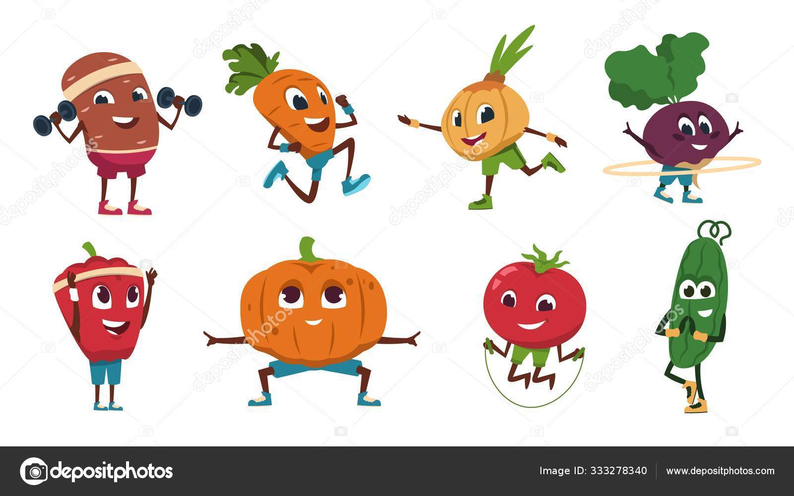 Cartoon Vegetables Exercises Healthy Food Characters Doing Fitness Activities And Sport Workout Vector Cute And Funny Vegetable Set Stock Vector C Spicytruffel 333278340