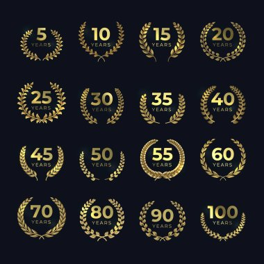 Golden anniversary laurel wreaths. Birthday gold symbol set with leaf shapes. Vector template for award