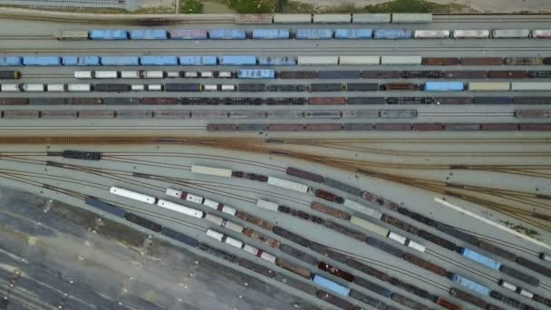 4K The long train wagons on the rail tracks