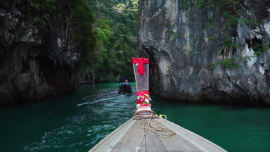 Long tail boat at laguna of Koh Hong Island, Thailand
