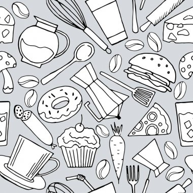 Seamless pattern in monochrome colors with elements of kitchen items, wallpaper and fabric ornament, wrapping paper, background for different designs, scrapbooking