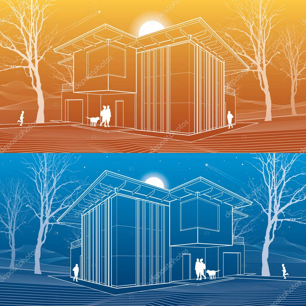 Casa moderna, la gente en el patio de su casa. Ilustración ...
