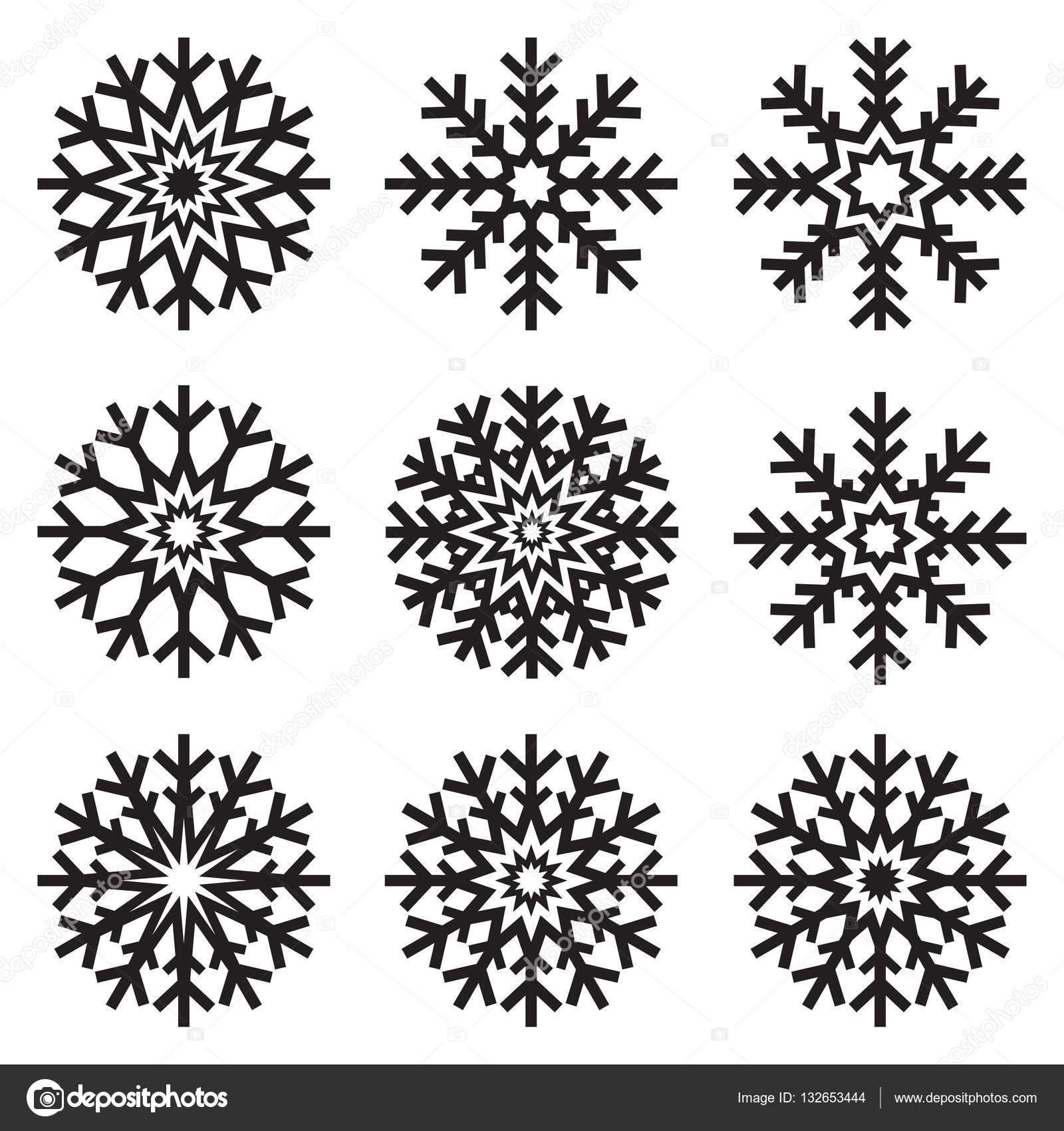 Bien connu Set di fiocchi di neve su priorità bassa bianca, sagoma di icone  FE82