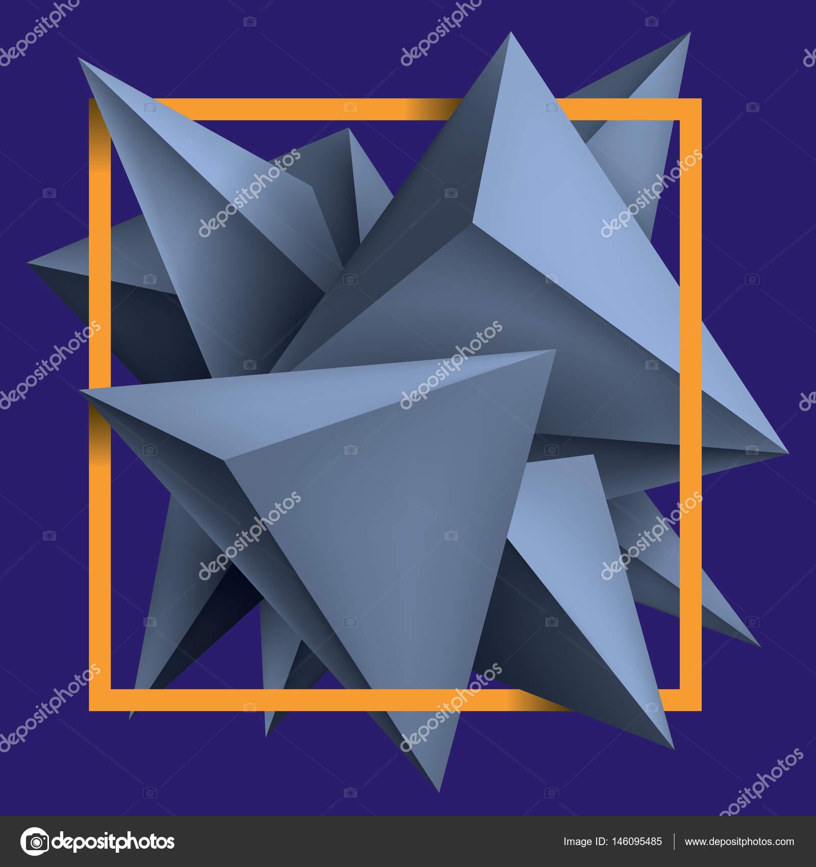 Volume Geometric Shapes, Blue 3d Crystals On Purple