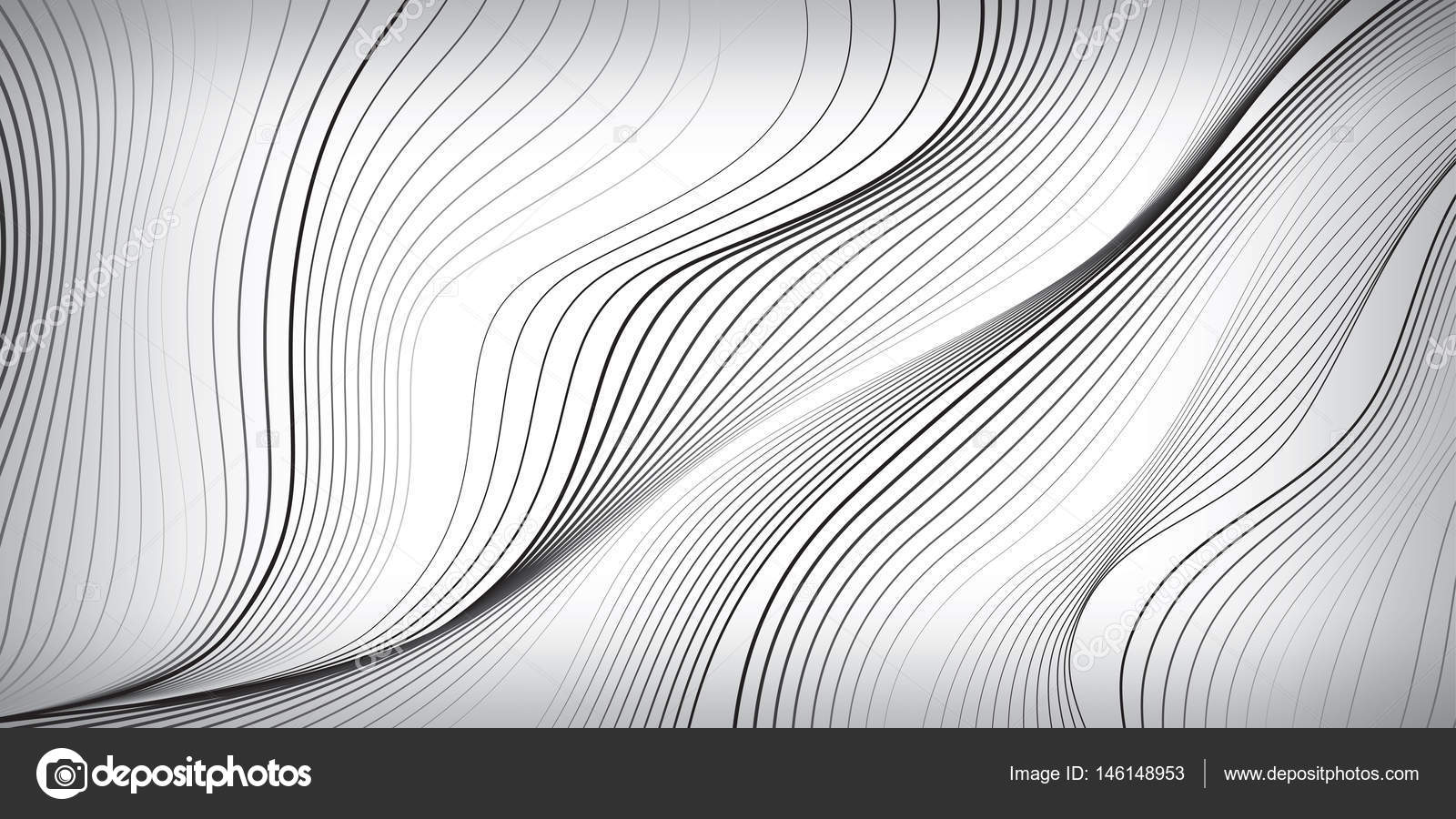 Waves Of Black Lines On White Background Abstract Wallpaper