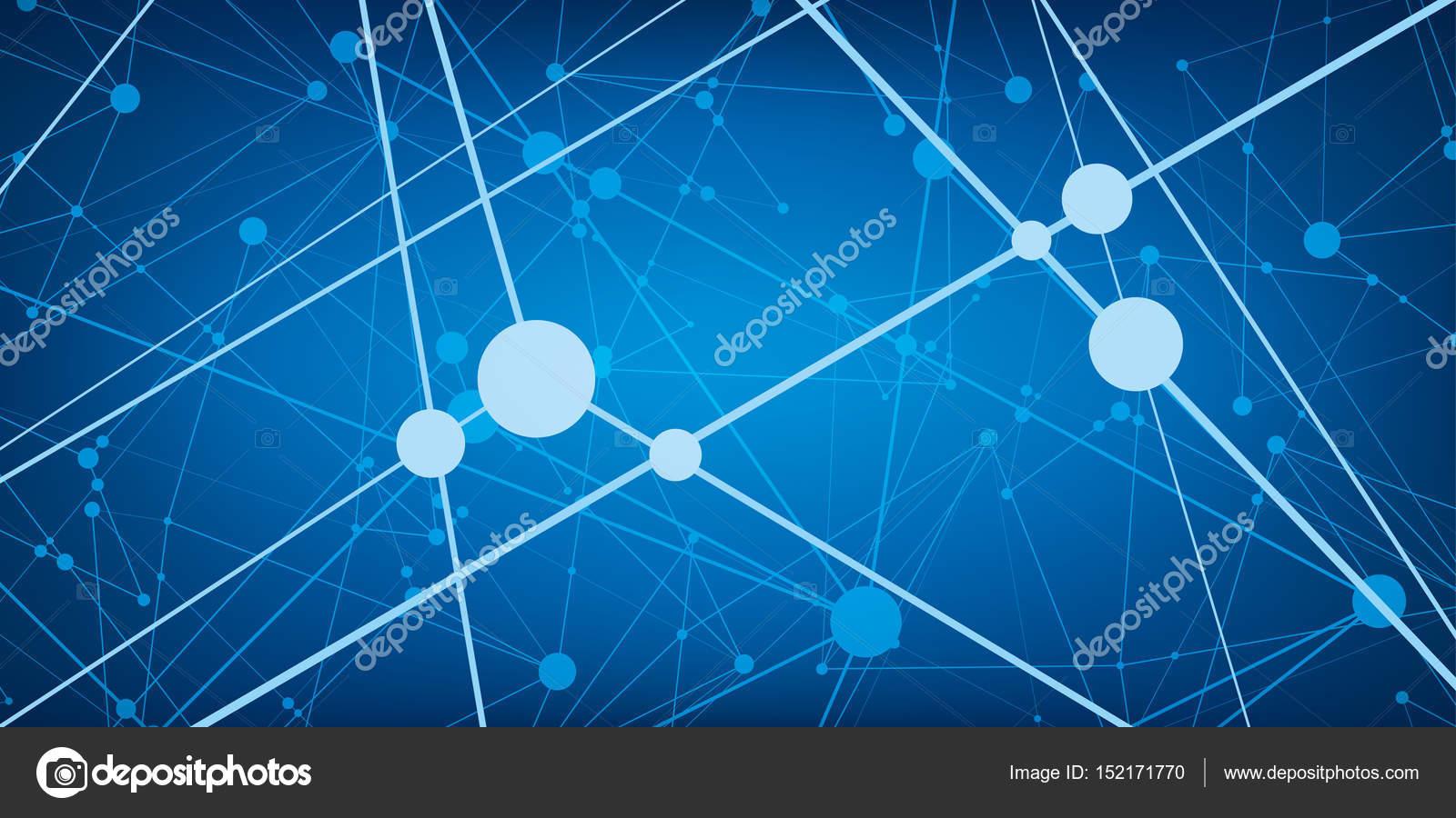 Muchas Líneas De Wihte Y Puntos Fondo Abstracto Tecnología Azul