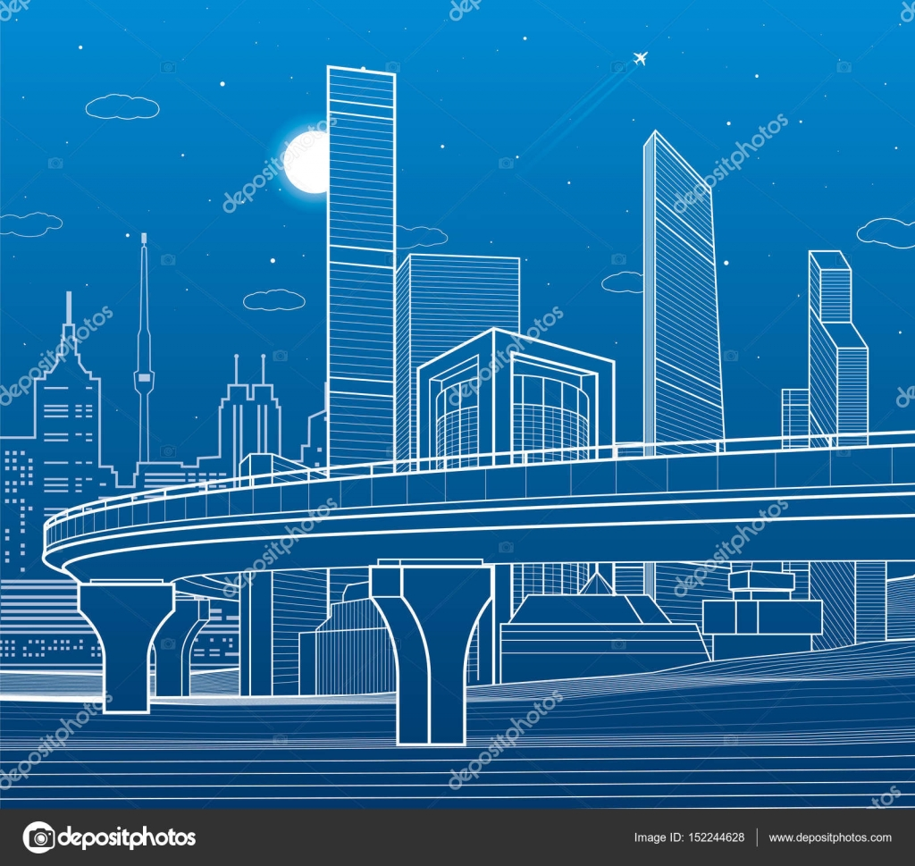 Automobile Highway Infrastructure And Urban Illustration Night Bridge Diagram Related Keywords Suggestions Beam City On Background Towers Skyscrapers