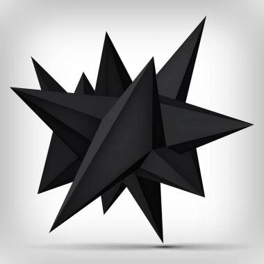 """Картина, постер, плакат, фотообои """"Объем геометрических фигур, 3d левитация черный кристалл, темный объект творческой низким полигонов, Векторный дизайн формы"""", артикул 162673208"""