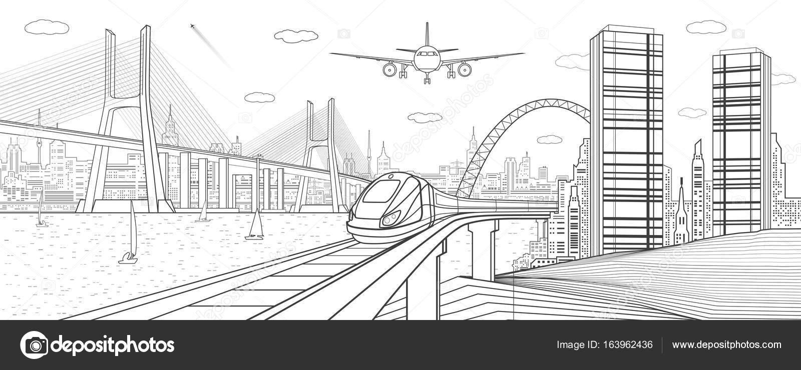 Ilustración de infraestructura y transporte. Movimiento del tren en ...