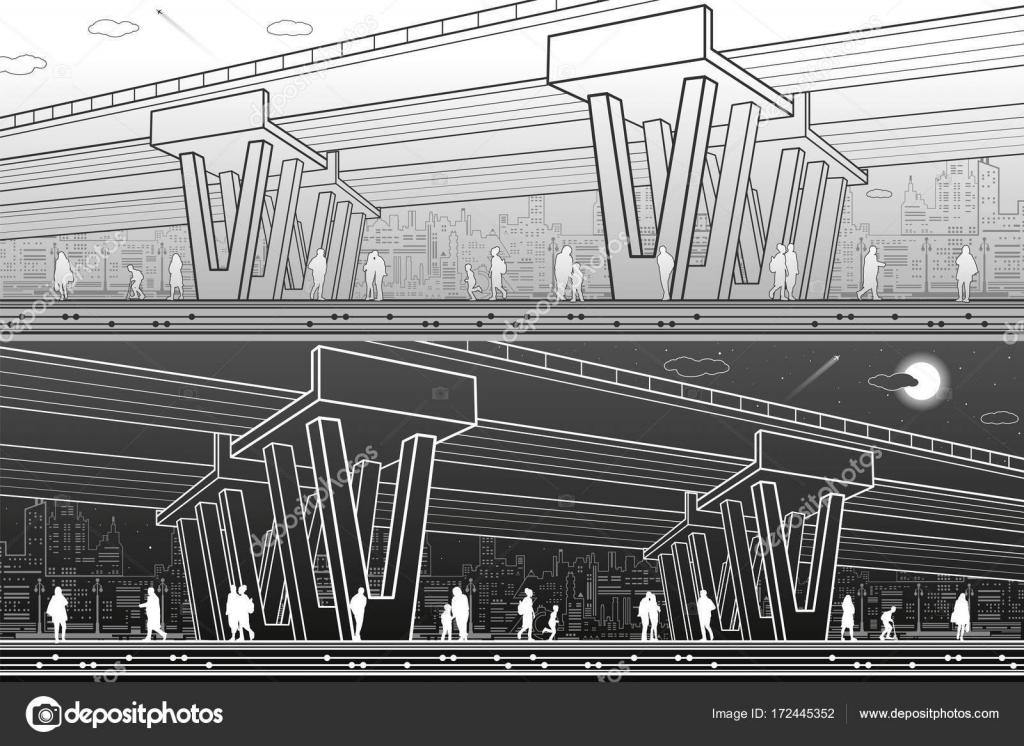 Line Art City : Chicago city skyline silhouette usa
