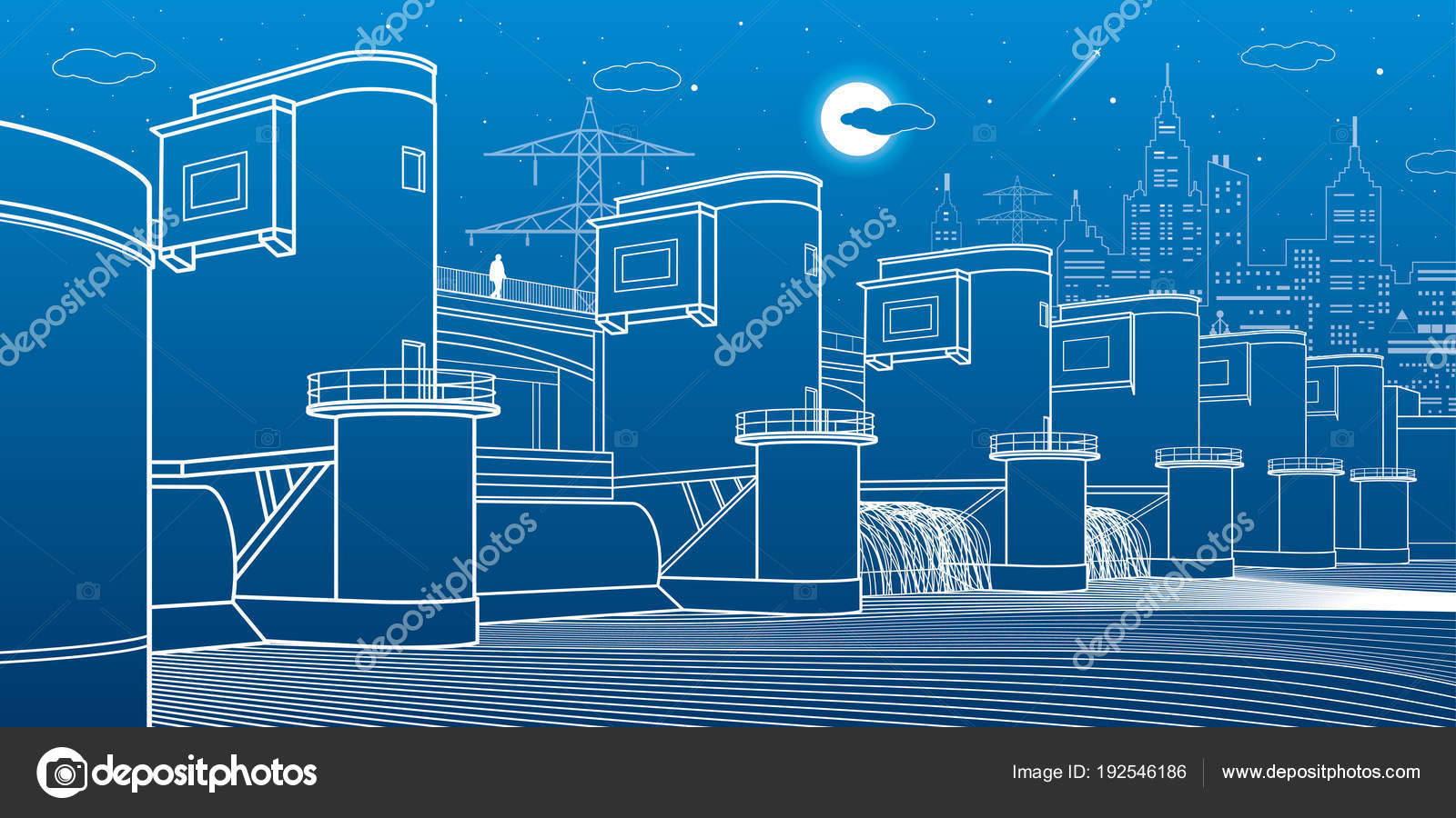 Hydro Power Plant River Dam Energy Station City Infrastructure Layout Diagram Industrial Stock Vector