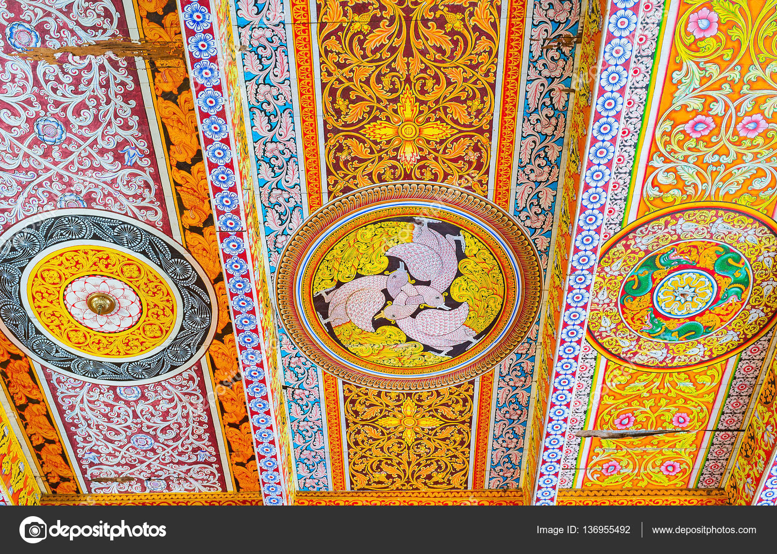 the ceiling in buddhist temple stock editorial photo efesenko