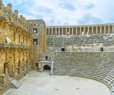 The Greco-Roman amphitheater in Aspendos