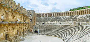 In ancient amphitheater of Aspendos
