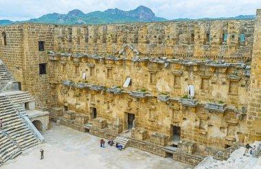 The walls of Aspendos Amphitheater