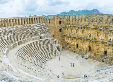 The stone amphitheater in Aspendos