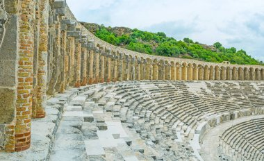 The walk in Aspendos amphitheater
