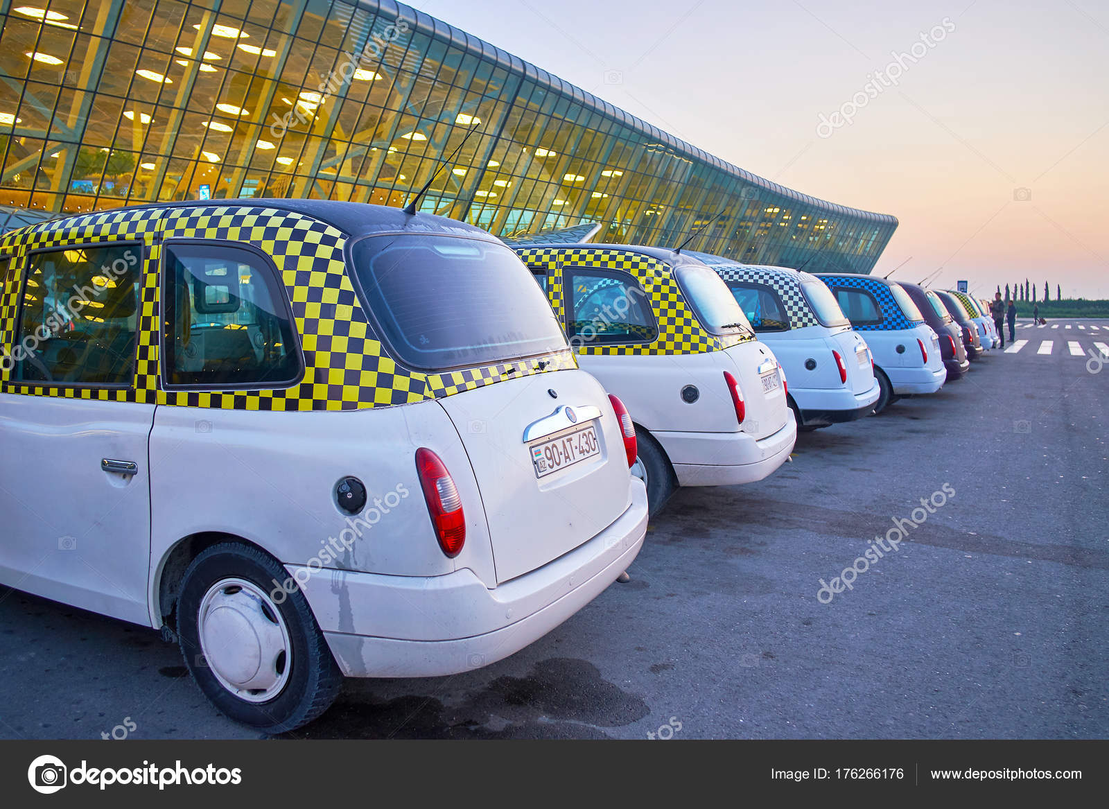 Rows Of Classic Taxi In Baku Airport Stock Editorial Photo