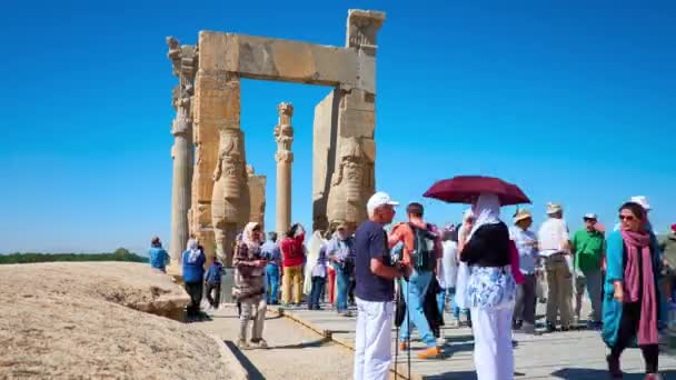 PERSEPOLIS, IRAN - OCTOBER 13, 2017: Discover All Nations Gate with its giant Lamassu statues, preserved slender columns and carved decors, Persepolis archaeological site, on October in Persepolis.