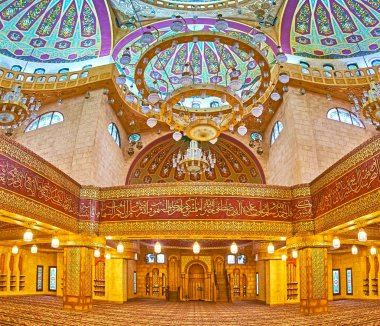 Panorama of preayer hall of Al Sahaba mosque in Sharm El Sheikh,