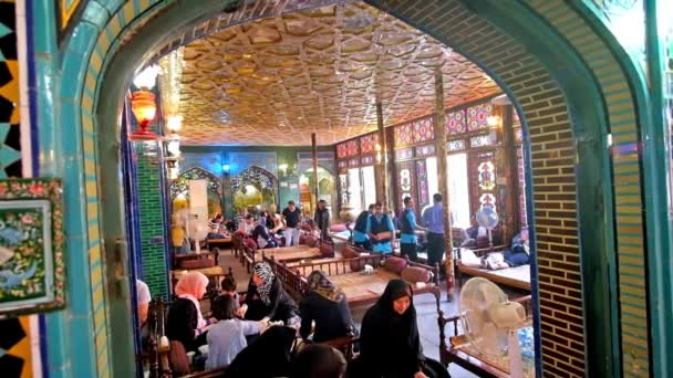 ISFAHAN, IRAN - OCTOBER 20, 2017: The splendid interior of Nagsh-e Jahan Banquet Hall - the traditional Persian restaurant with daybeds, local cuisine and Eastern decors, on October 20 in Isfahan.
