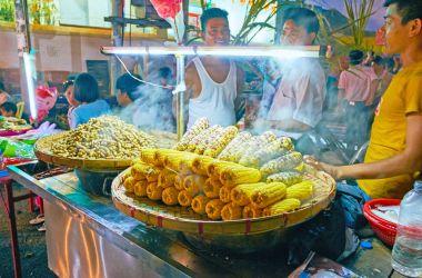 Steamed corn in Chinatown of Yangon, Myanmar