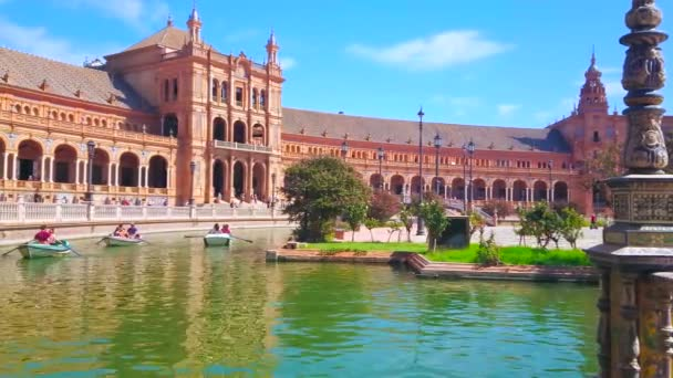 SEVILLE, SPAIN - OCTOBER 1, 2019: The canal in Plaza de Espana is one of the most romantic places for the boat trips, on October 1 in Seville