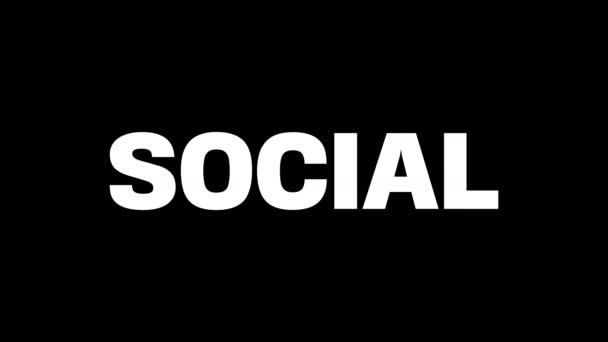 Slovo sociální na černobílém pozadí. Na černém pozadí bílými písmeny. Na bílém pozadí černými písmeny. Pohybová grafika.