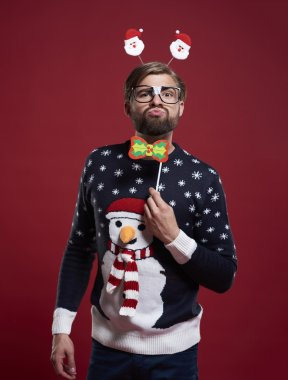 Funny man in Christmas sweater