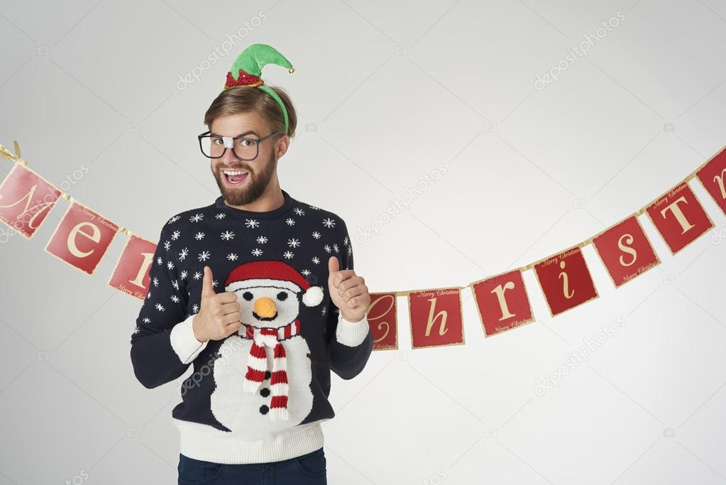 Kersttrui Funny.Funny Man In Christmas Sweater Stock Photo C Gpointstudio 127262502