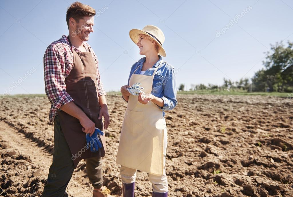 Young farmers on the field